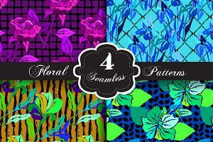 Bright Floral Seamless Patterns