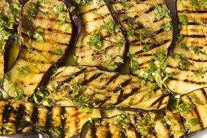 Grilled eggplant with dressing