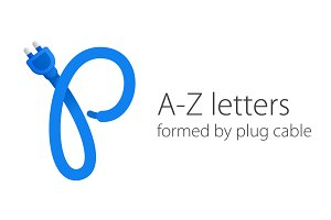 A-Z letters formed by plug cable