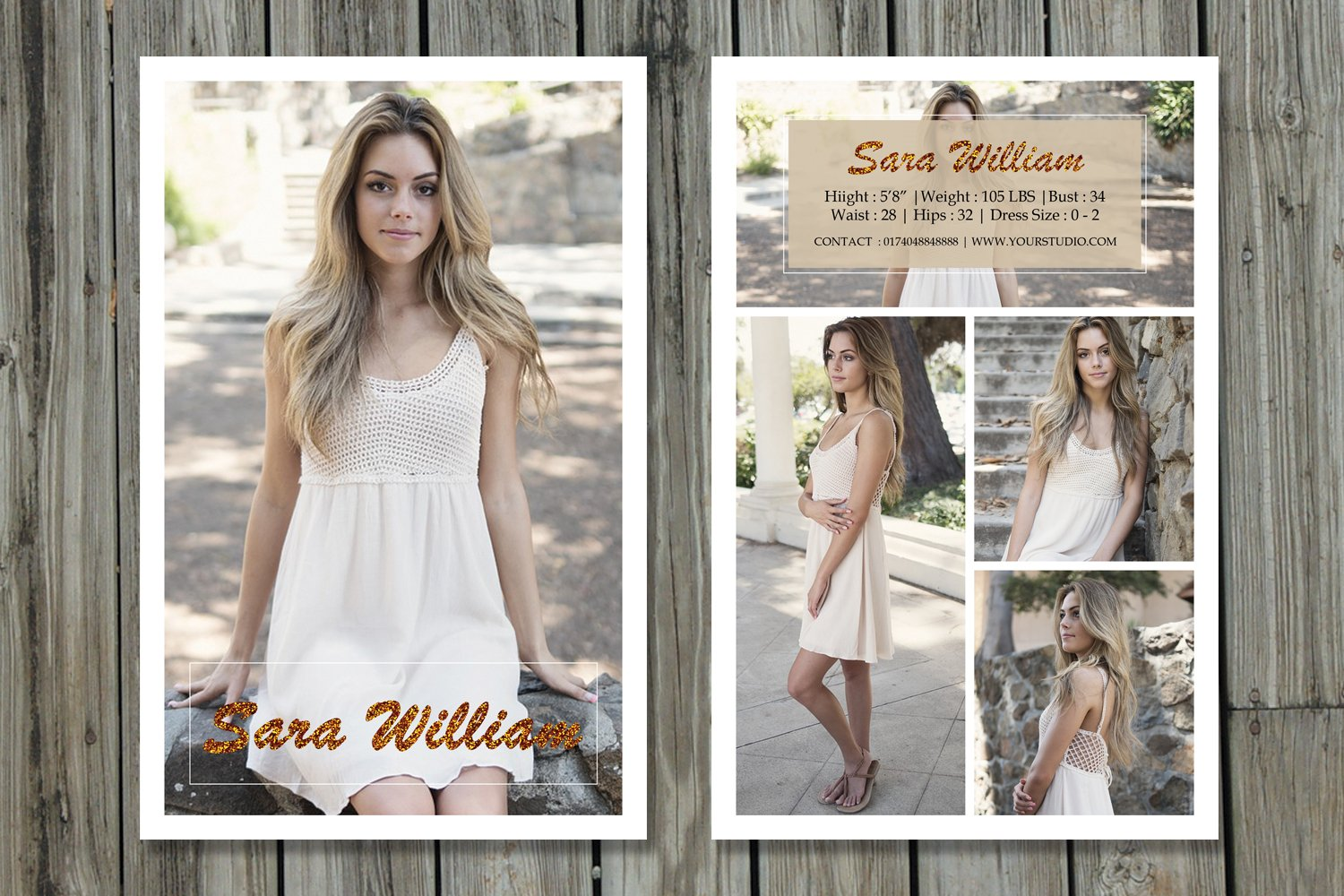 Modeling Comp Card Template-V269 ~ Flyer Templates ~ Creative Market