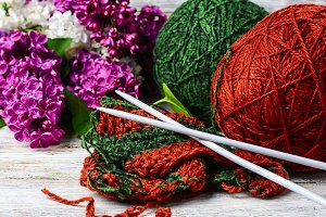 Balls of yarn for knitting