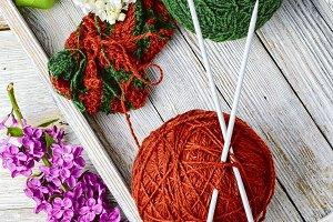 Balls of yarn for knitting