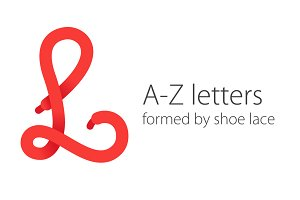 A-Z letters  formed by shoe lace