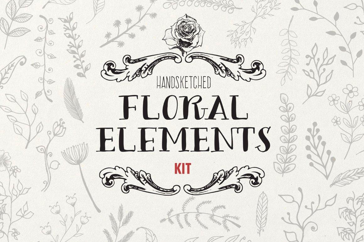 Handsketched Floral Elements Kit ~ Illustrations