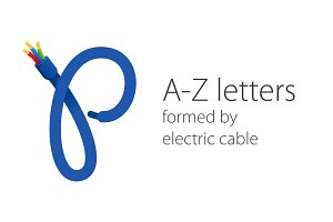 Letters  formed by  electric cable