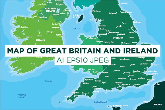 Map Of Great Britain And Ireland Illustrations Creative Market - Map of great britain and ireland
