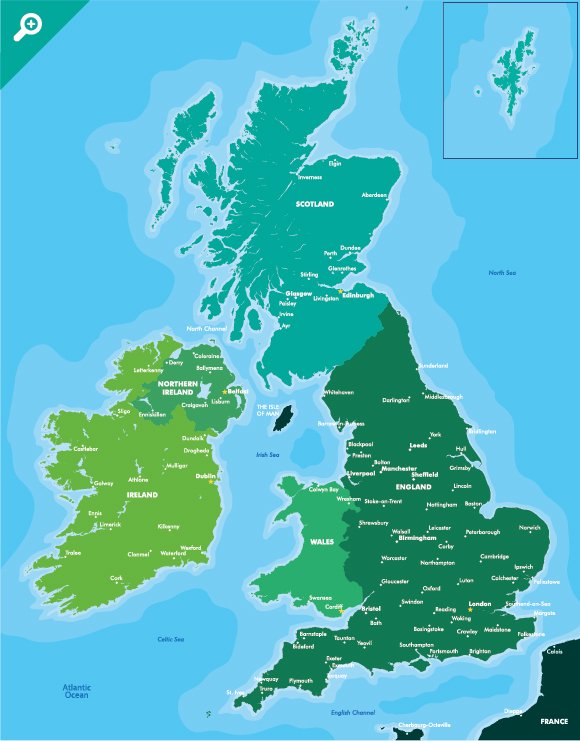 Britain And Ireland Map.Map Of Great Britain And Ireland Illustrations Creative Market