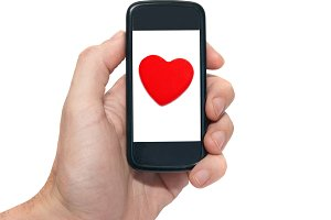 Mobile phone with red heart