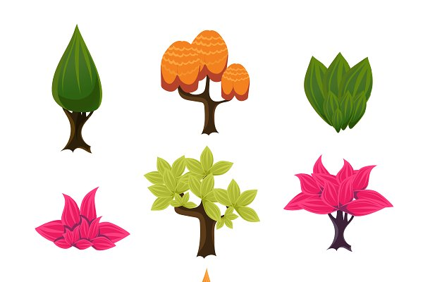 Cartoon Trees Leaves And Bushes Pre Designed Photoshop Graphics Creative Market Jungle forest with waterfal cartoon vector. cartoon trees leaves and bushes