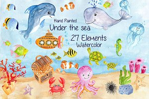 Watercolor sea animals clipart