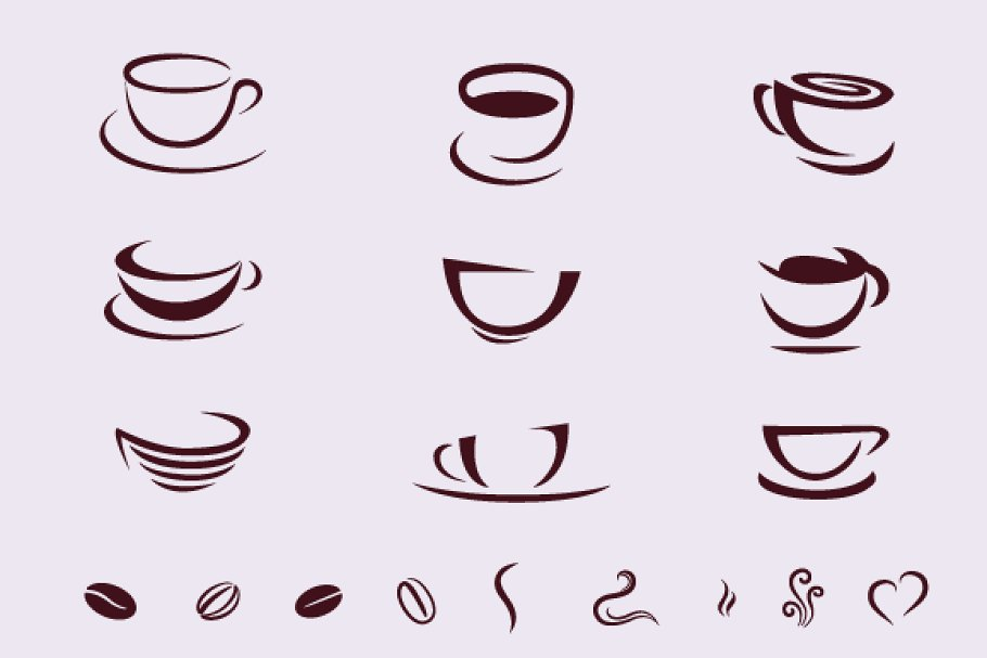 Coffee Cups For Logos ~ Photoshop Shapes for Graphic Design
