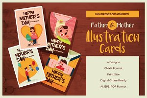 Mother & Father Illustration Cards