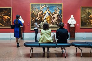 Moscow, Russia - May 03, 2016: Visitors looking at artworks in Pushkin State Museum of Fine Arts