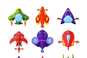 Cartoon Rockets and Spaceships