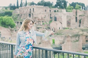 Beautiful tourist girl in Rome