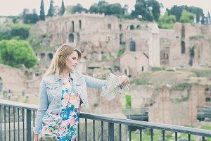 Beautiful tourist girl in Rome