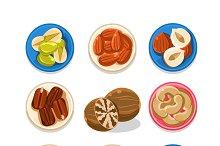 Nut Icon Set Vector Illustration
