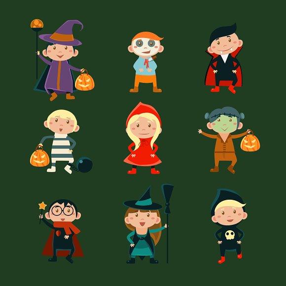Kids in Halloween Costumes  - Illustrations