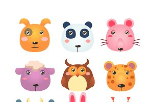 Set of Cartoon Animal Head Icons