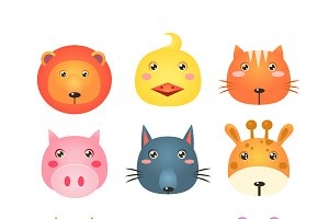 Cute Set of Cartoon Animal Heads