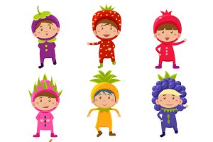 Children in Fruit and Berry Costumes