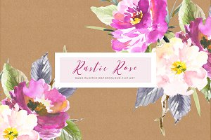 Rustic Rose Watercolour Clip Art