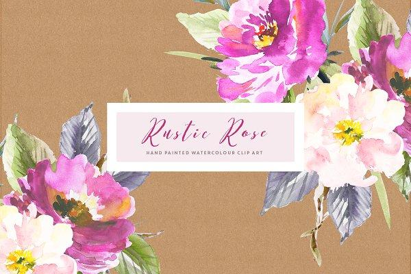 Rustic Rose Watercolour Clip Art