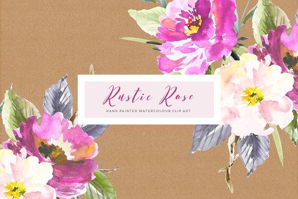 Rustic Rose Watercolour Clip Art Illustrations Creative Market
