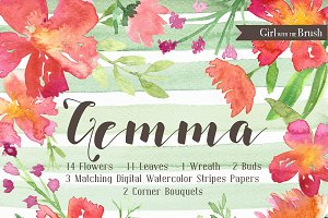 Floral Watercolor Clipart Set