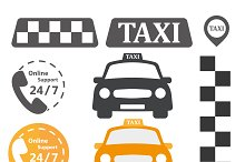 Taxi sign in a flat style. Icons set