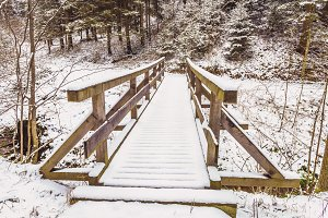 Wooden bridge in Winter