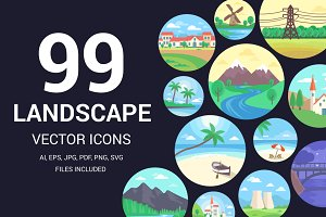 99 Landscape Icons or Illustrations