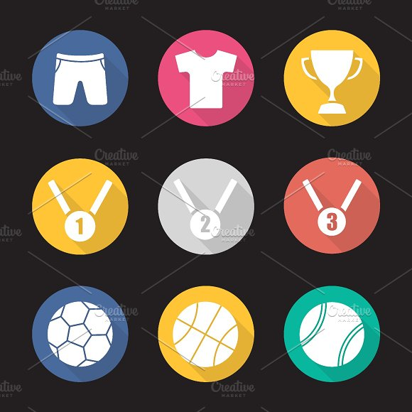 Sport equipment icons. Vector - Icons