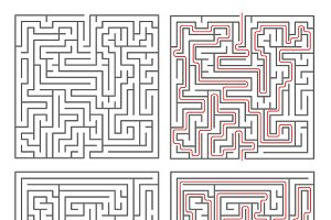 Two different mazes with solutions