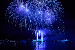 Blue colorful fireworks