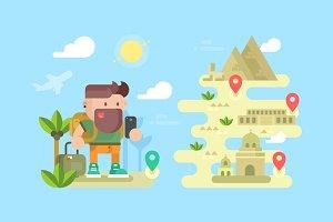 Travel traveler concept