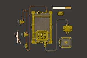 Steampunk design mobile phone flat
