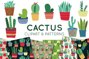 Cactus Clipart and Seamless Patterns