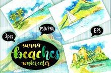 Watercolor sunny beaches.