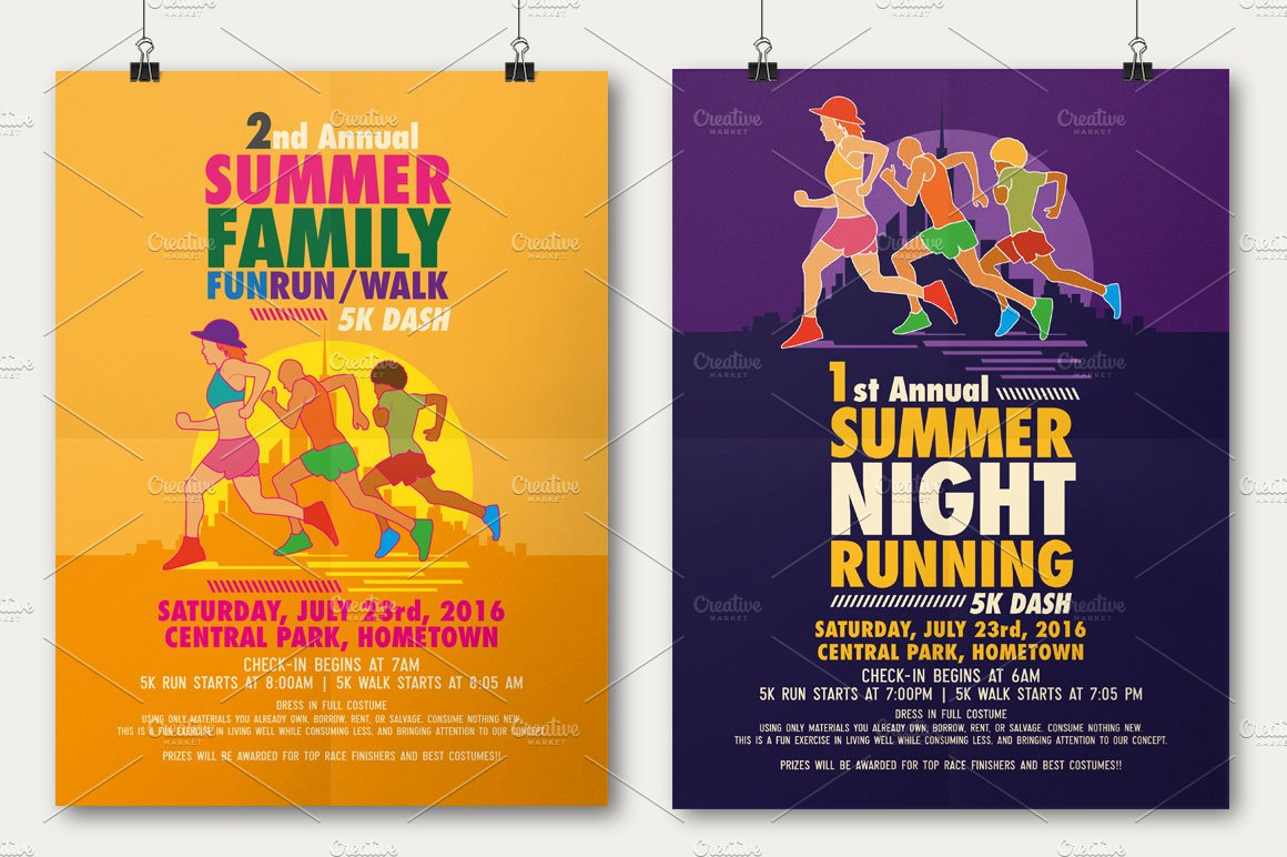 Summer Fun Run Flyer Poster Flyer Templates Creative Market - Fun brochure templates