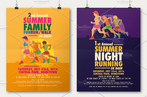 Summer fun run flyer poster flyer templates on for Fun brochure templates