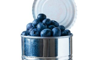 Blueberries in open tin can