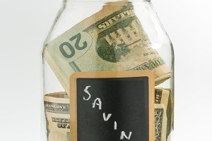 Savings Glass Jar