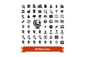 60 map icons set.