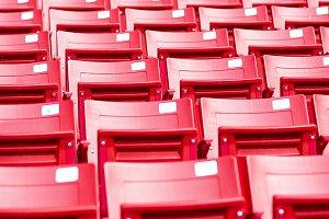 Modern red stadium