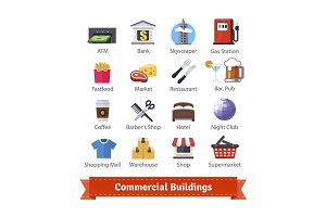 Commercial buildings icon set.