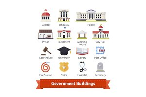 Government buildings icon set.
