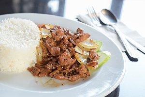 Rice with pork fried
