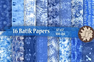 16 Blue Batik Style Patterns