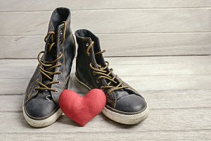Shoes and red heart